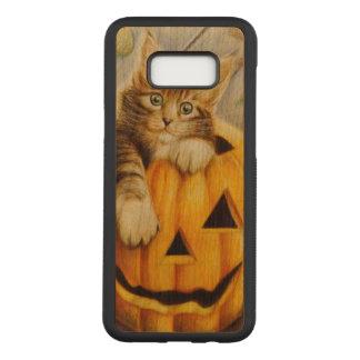 Beautiful cute kitten on pumpkin, halloween art carved samsung galaxy s8+ case