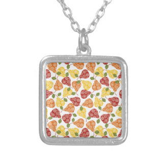 Beautiful Cute pears in autumn colors Silver Plated Necklace
