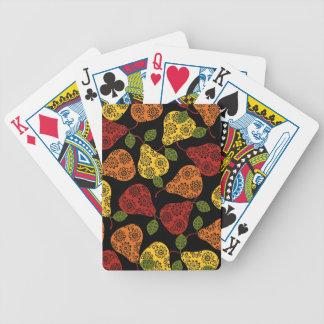 Beautiful Cute pears, yellow,  orange, maroon Bicycle Playing Cards
