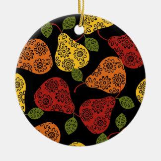 Beautiful Cute pears, yellow,  orange, maroon Ceramic Ornament