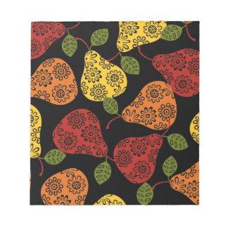 Beautiful Cute pears, yellow,  orange, maroon Notepad