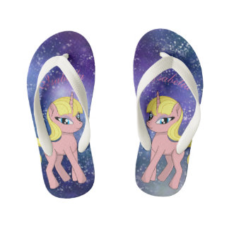 Beautiful cute pink fantasy unicorn | starry sky kid's thongs