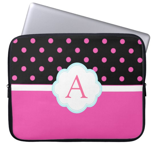 Beautiful cute, sweet pink and black polka dots laptop sleeve