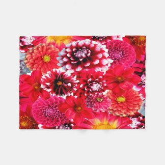 Beautiful Dahlia Collage Fleece Blanket