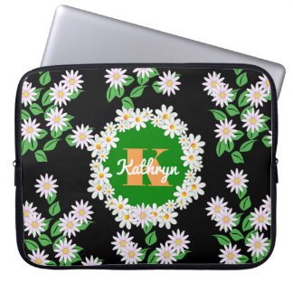 Beautiful Daisies w/Monogram & Name Laptop Sleeve