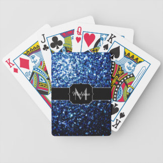 Beautiful Dark Blue glitter sparkles Monogram Bicycle Playing Cards