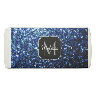 Beautiful Dark Blue glitter sparkles Monogram Eraser