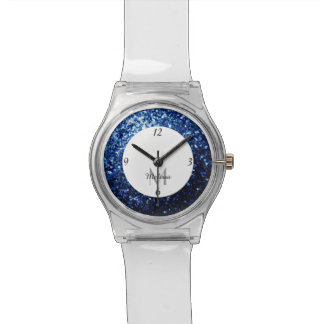 Beautiful Dark Blue glitter sparkles Monogram Watch