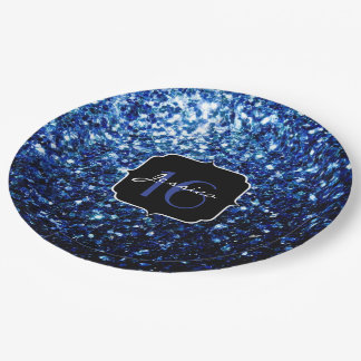 Beautiful Dark Blue sparkles Sweet 16 Paper Plate