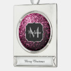 Beautiful Dark Pink glitter sparkles Monogram Silver Plated Banner Ornament