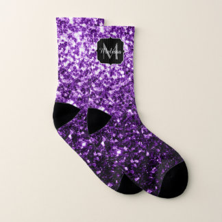 Beautiful Dark Purple glitter sparkles Monogram 1