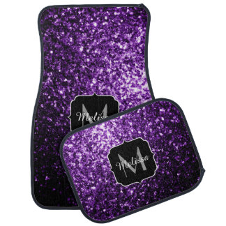 Beautiful Dark Purple glitter sparkles Monogram Car Mat