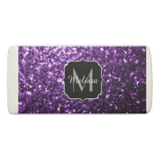 Beautiful Dark Purple glitter sparkles Monogram Eraser
