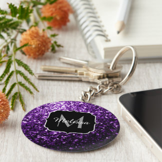 Beautiful Dark Purple glitter sparkles Monogram Key Ring