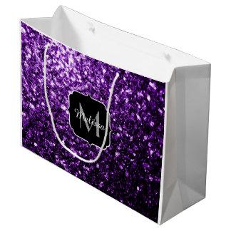 Beautiful Dark Purple glitter sparkles Monogram Large Gift Bag