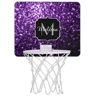 Beautiful Dark Purple glitter sparkles Monogram Mini Basketball Hoop