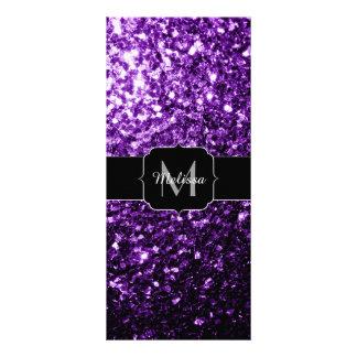 Beautiful Dark Purple glitter sparkles Monogram Rack Card