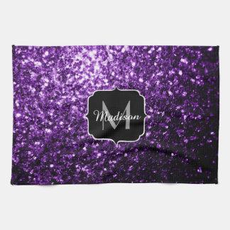 Beautiful Dark Purple glitter sparkles Monogram Tea Towel