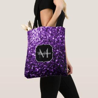 Beautiful Dark Purple glitter sparkles Monogram Tote Bag