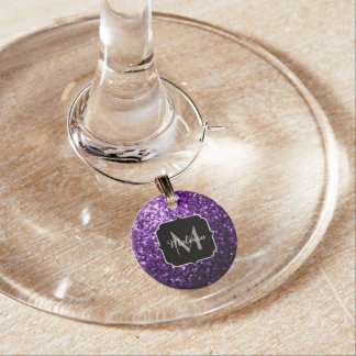 Beautiful Dark Purple glitter sparkles Monogram Wine Charm