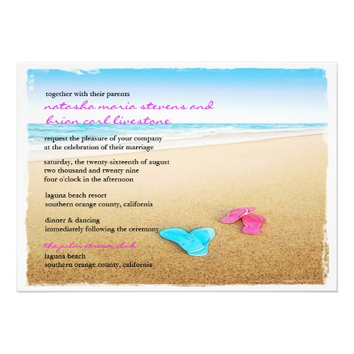 Beautiful Day Beach Flip Flops Chic Wedding Invite Personalized Invitations