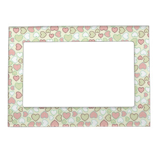 Beautiful Delicate Pastel Color Heart Pattern Frame Magnet