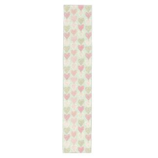 Beautiful Delicate Pastel Color Heart Pattern Medium Table Runner