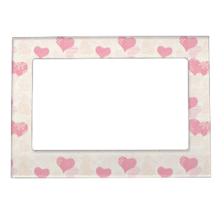 Beautiful Delicate Pastel Color Heart Pattern Photo Frame Magnet