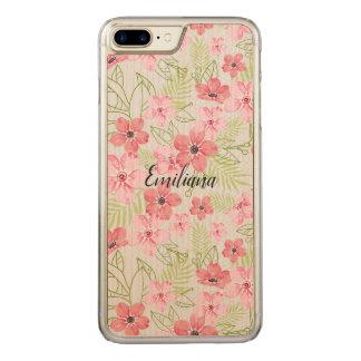 Beautiful design of fuchsia flowers. carved iPhone 8 plus/7 plus case
