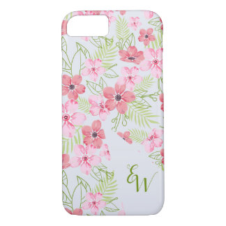 Beautiful design of fuchsia flowers. iPhone 8/7 case