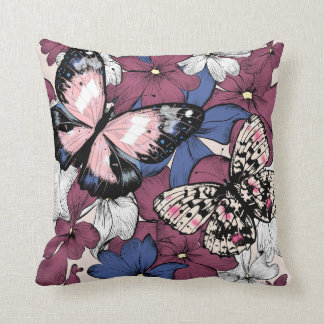 Beautiful design with butterflies and flowers cushion