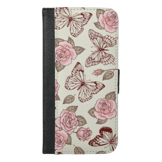 Beautiful Design with Roses and Butterflies iPhone 6/6s Plus Wallet Case