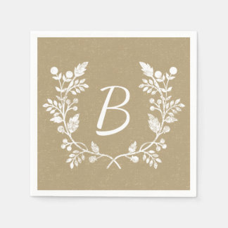 Beautiful Distressed Floral Wreath Custom Monogram Disposable Serviette