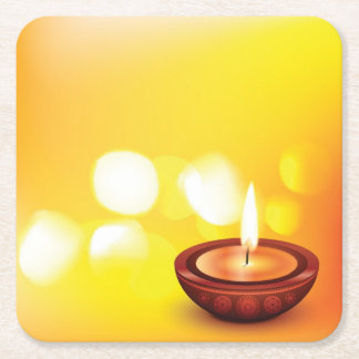 Beautiful diwali diya illustration square paper coaster