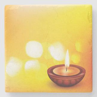 Beautiful diwali diya illustration stone beverage coaster