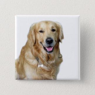 Beautiful Dog Golden Retriever and Your Bone 15 Cm Square Badge