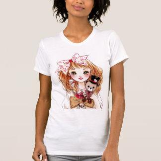Beautiful doll girl with teddy bear tees
