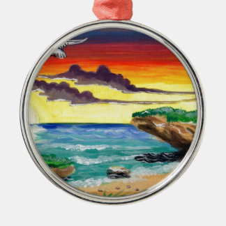 Beautiful Dominican Beach Hand Painted by Alex.jpg Metal Ornament