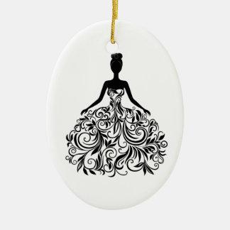 Beautiful Dress Girl Wedding Party Long Ceramic Ornament