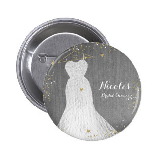 Beautiful Dress on Gold Hanger Bridal Shower Party 6 Cm Round Badge