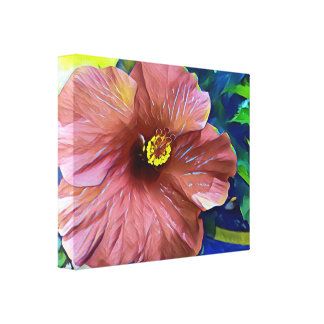 Beautiful Dusty Rose Artistic Hibiscus Flower Canvas Print