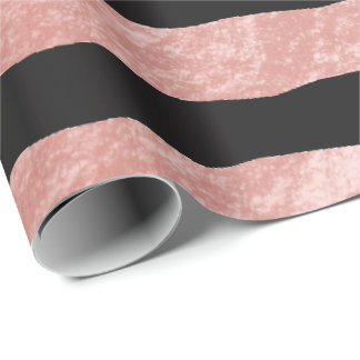 Beautiful Dusty Rose Foil and Black Stripes Wrapping Paper