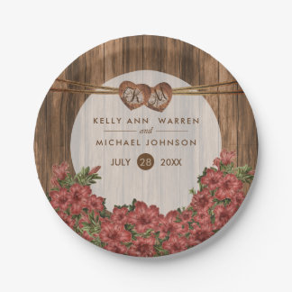 Beautiful Dusty Rose Lilies on Wood Paper Plate
