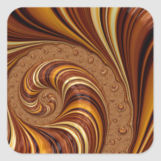 Beautiful Earth Tone Fractal Art Decor Square Stickers