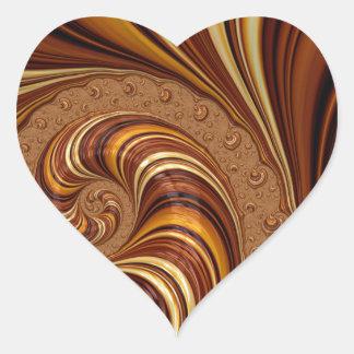 Beautiful Earth Tone Fractal Art Decor Heart Stickers