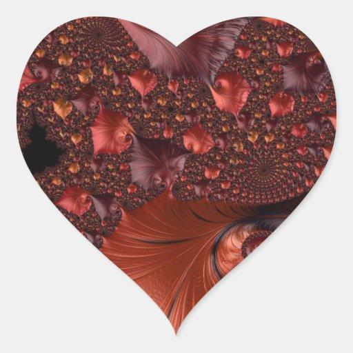 Beautiful Earth Tone Fractal Art Heart Sticker
