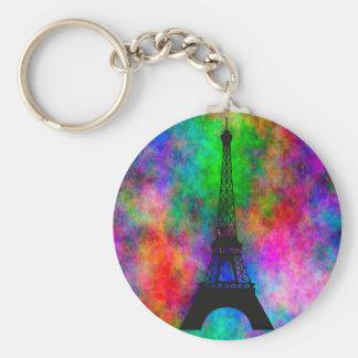 Beautiful Eiffel tower Paris colorful cloth effect Keychain