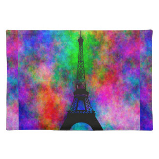 Beautiful Eiffel tower Paris colorful cloth effect Place Mats