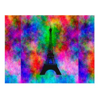 Beautiful Eiffel tower Paris colorful cloth effect Postcard