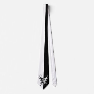 Beautiful elegant black and white butterfly swirls tie